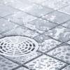 water splattered tile floor