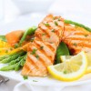 grilled salmon on fresh greens