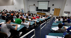 Students in an auditorium classroom.