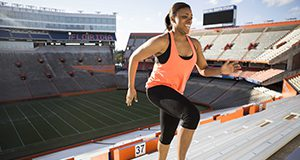 Figure 1. Women running up stadium steps for exercise. Image used in the 2014 Research Discoveries report. Credits: Javier Edwards, UF/IFAS