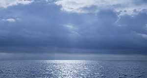 Ocean, horizon, and clouds over the Gulf of Mexico.