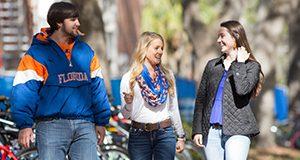 Students walking and talking on campus. Photo taken 01-26-18