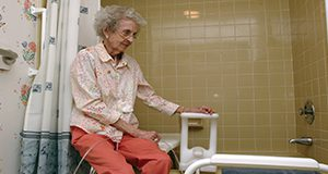 An elderly person's bathroom can be made safer by adding items that will help them maneuver easier. UF/IFAS Photo by Marisol Amador.