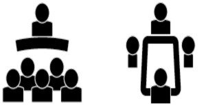 Illustrated differences between in-person conferences (left) and meetings (right).