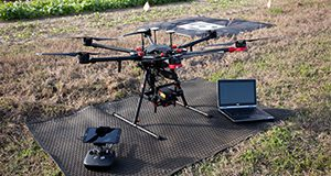 Agricultural drone setup at a crop field. Photo taken 01-22-20.
