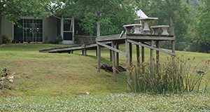 Photo of a house and dock extending out into nothing but lawn: no lake is visible.
